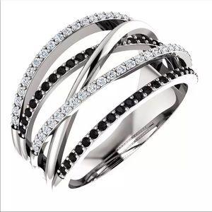Twist Ethnic Black&White stone Micro Paved ring